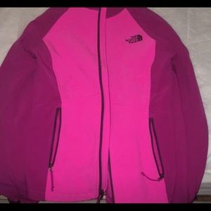 Pink north face shell with fleece on the inside